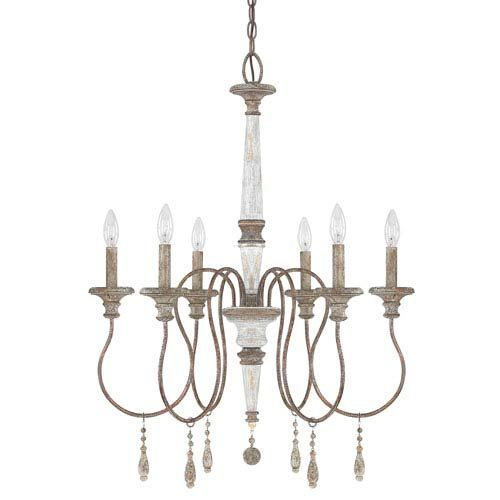 Austin allen co zoe french antique six light 25 inch chandelier on sale