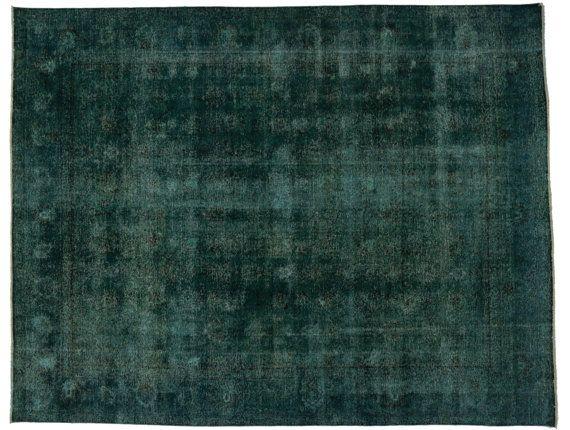 Vintage Persian Tabriz Wool Area Rug Overdyed Emerald