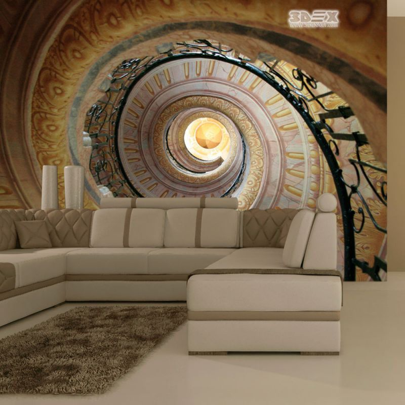 Optical Illusion With 3d Effect Wallpaper For Living Room