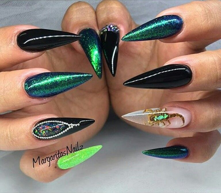 Iridescent green and black stiletto nails | Nails | Pinterest