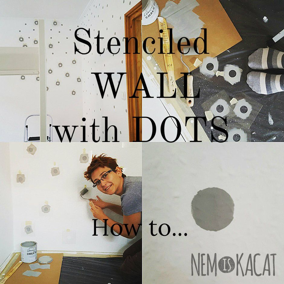 How to make a dotty wall with stencil step by step with many pictures...