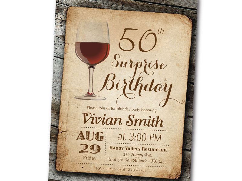 Wine Birthday Invitation. Surprise Birthday. Vintage Wood Retro ...