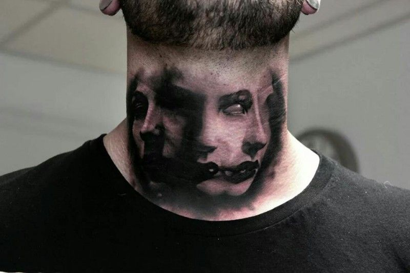 Scary Faces Neck Tattoo By Bacanu Bogdan Neck Tattoo Throat