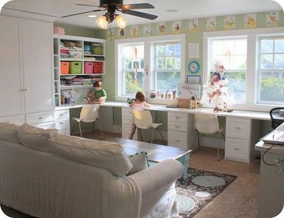 Layout and ideas for north side of the room. A couch for reading time and each kid has their own desk area.