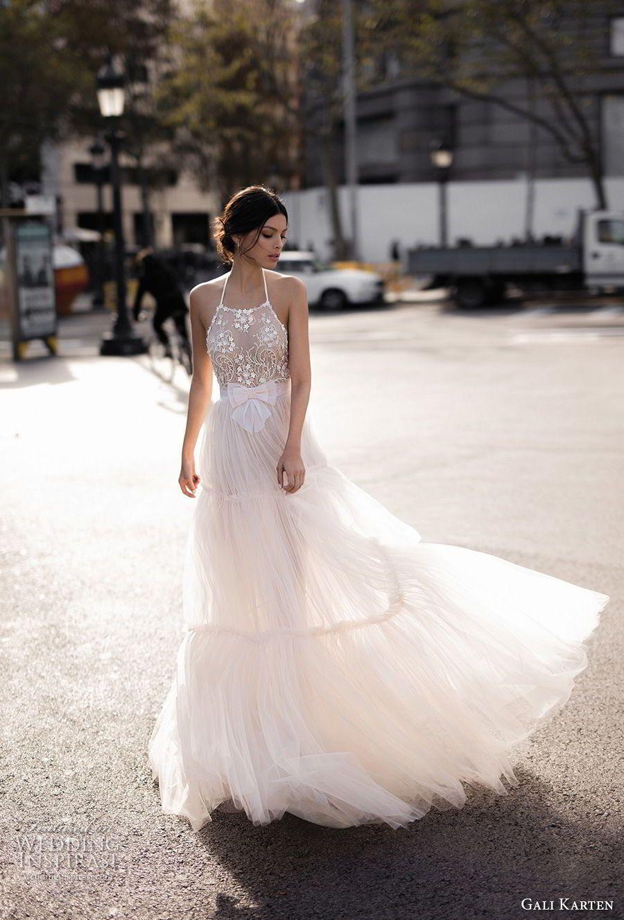 Lace wedding dress halter  Gali Karten  Wedding Dresses u ucBarcelonaud Bridal Collection