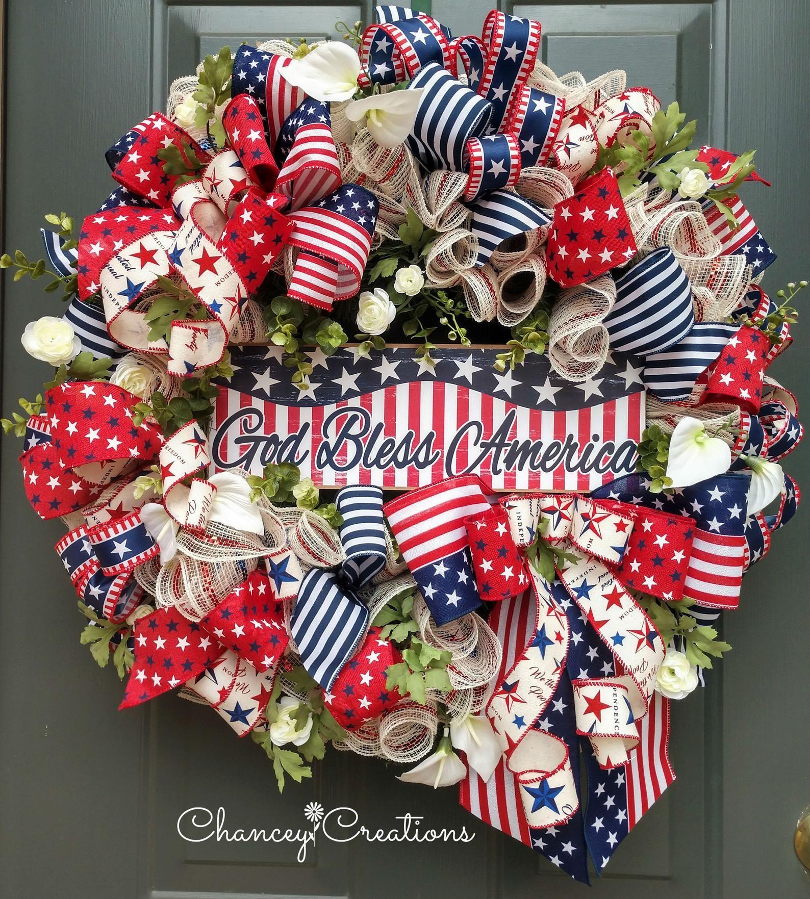 Patriotic Wreath Patriotic Decor Memorial Wreath