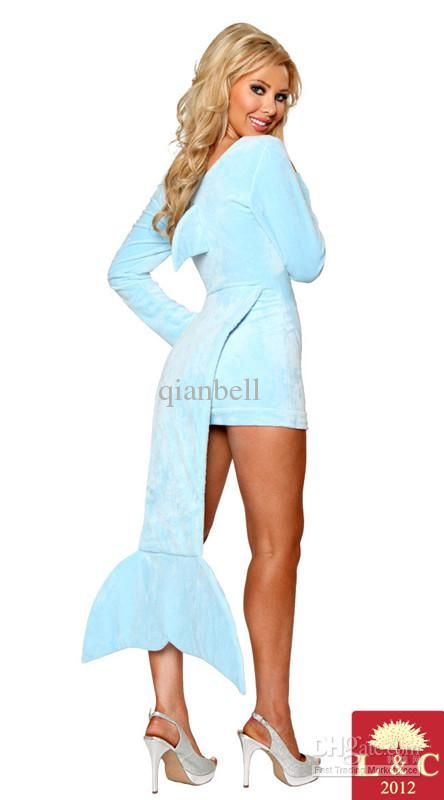 Wholesale Womens Blue Fish Style With Tail Costumes High Quality