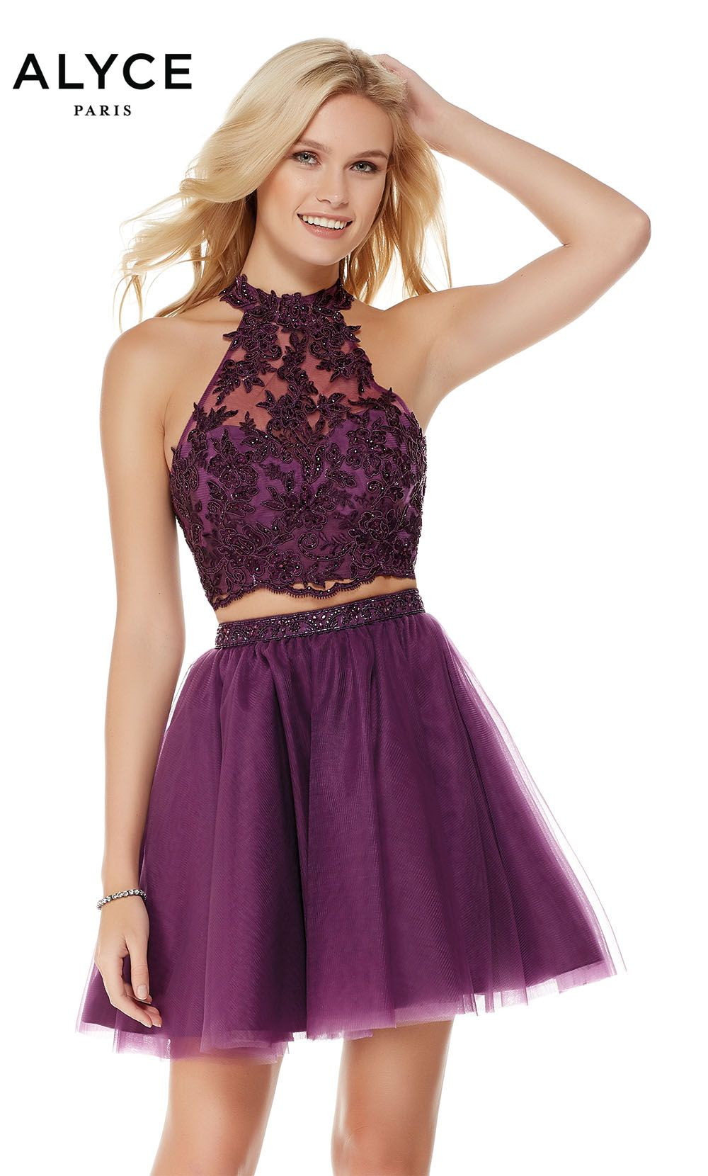 Alyce short two piece skater dress with a halter laced crop