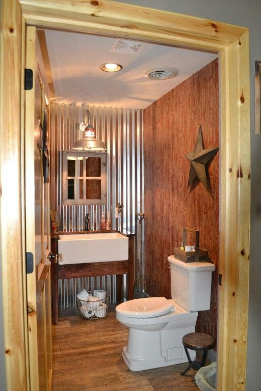 Perfectly Executed Barn Style Bathroom Love The Tin Wall
