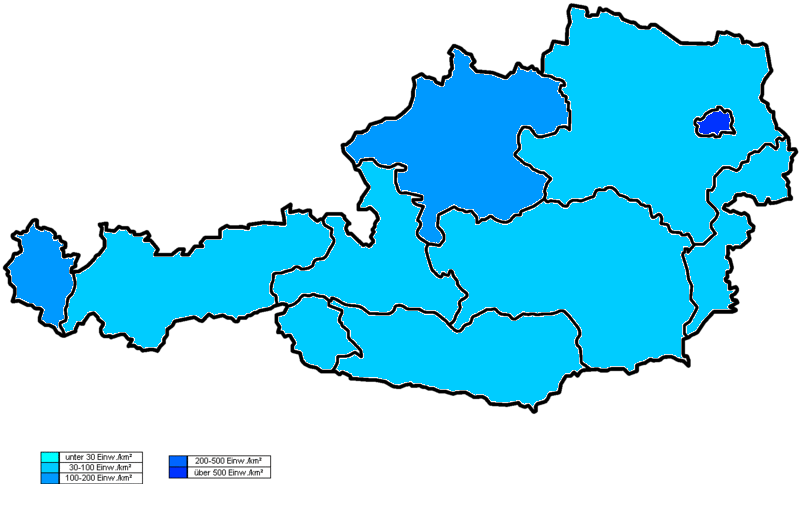 Population density map of Austria (2008) | History | Austria