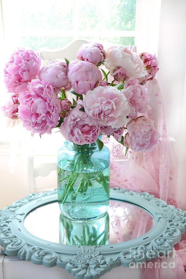 Photo of Shabby Chic Pink Peonies In Aqua Vase – Romantic Cottage Peonies Pink And Aqua Decor Wall Art Prints
