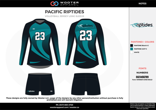 Pacific Riptides Black Water Blue White Volleyball Uniforms Jerseys Shorts Volleyball Outfits Volleyball Uniforms Volleyball Designs