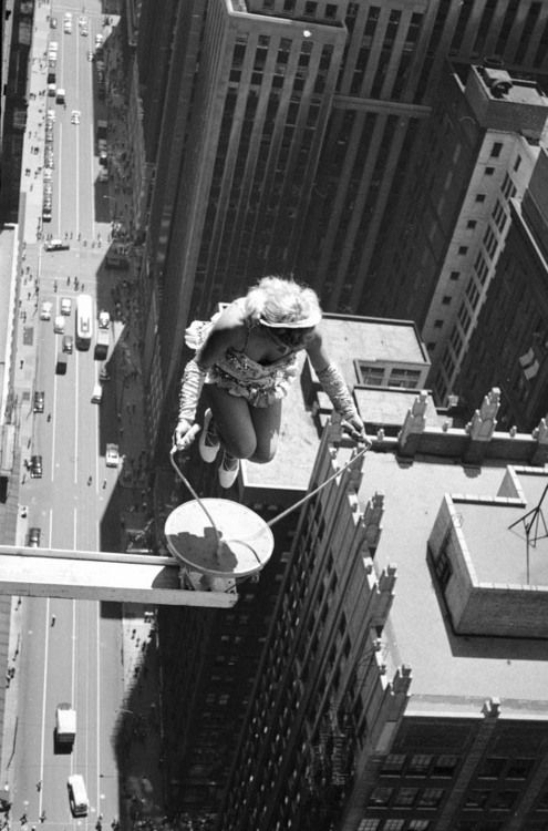 WOW!!! Gotta love this shot by LIFE's John Dominis — a female performer skips rope above Chicago in 1955. (John Dominis—Time & Life Pictures/Getty Images)