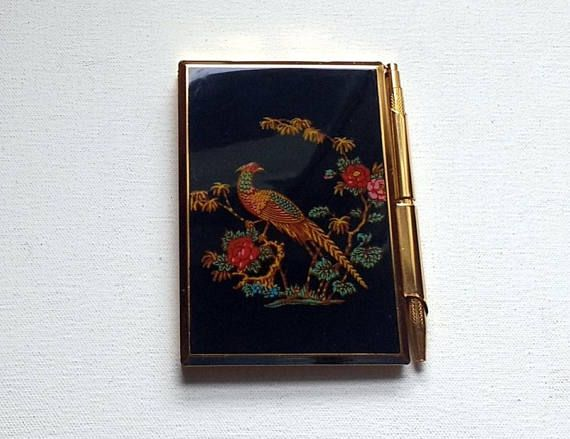 Stratton Handbag Notecase Vintage Notebook With Propelling Pen Case Original Paper Pad A Lovely Accessory In Gold Tone Metal