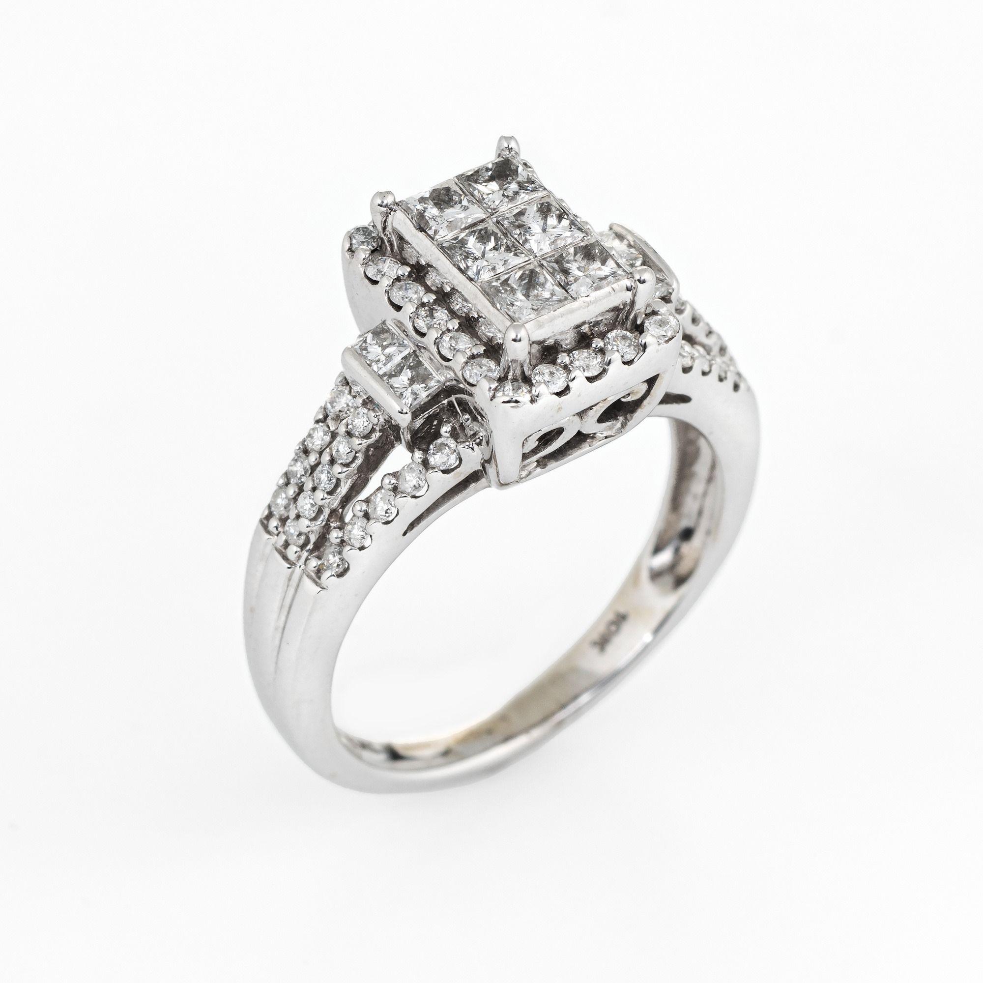 Diamond Cluster Ring Square Estate 10 Karat White Gold Fine Jewelry Illusion Set Sz 6 Diamond Cluster Ring Fine Jewelry Jewelry