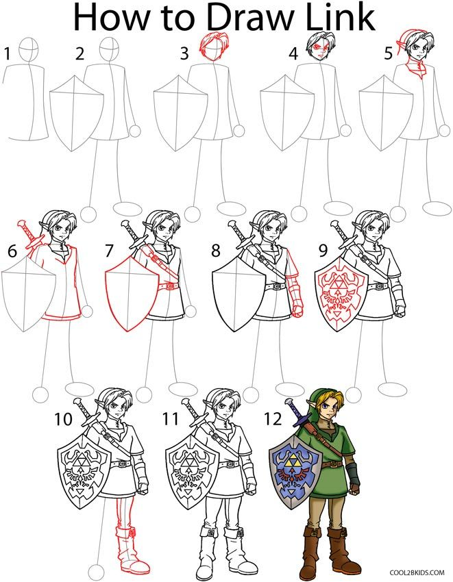 How To Draw Link Step By Step Drawing Tutorial With Pictures Cool2bkids Zelda Drawing Drawing Tutorial Drawings