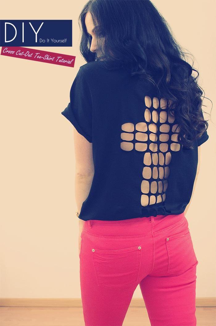 diy cross cut out tee shirt tutorial cross shirts. Black Bedroom Furniture Sets. Home Design Ideas