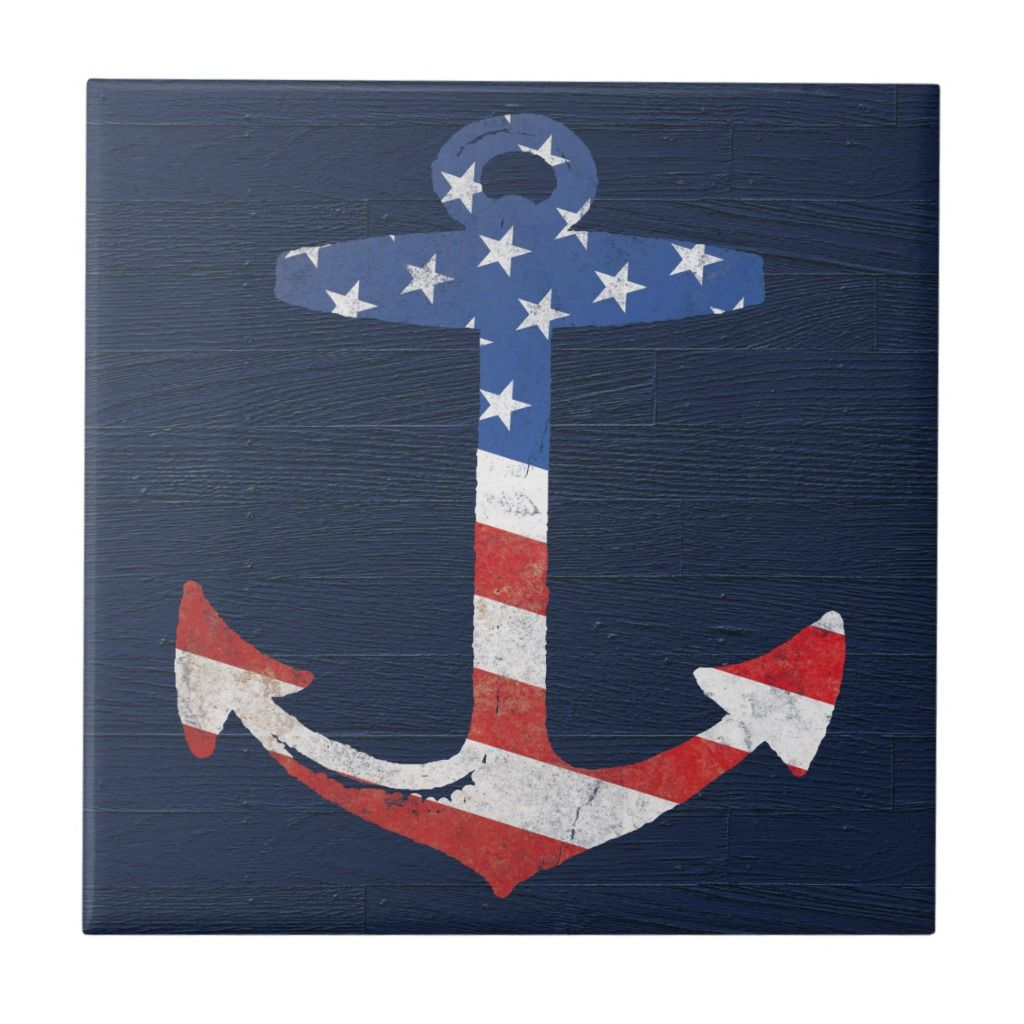 Vintage Patriotic American Flag Anchor Nautical Us Tile Zazzle Com In 2020 American Flag Crafts Flag Art Flag Painting
