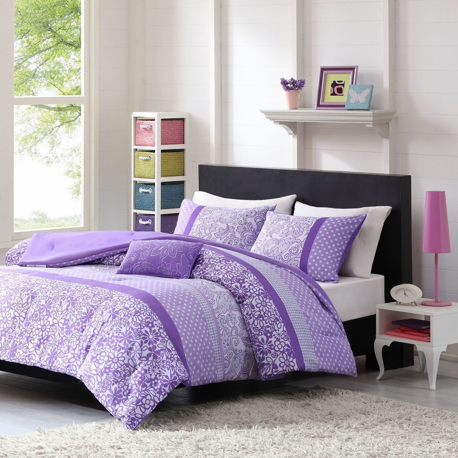 4 Piece Girls Purple White Floral Scroll Motif Comforter Full