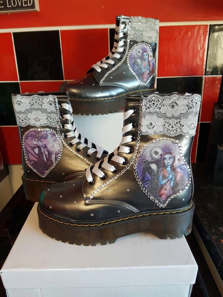 Custom Brand New Women Boots Nightmare Before Christmas Martin Boots For Girl