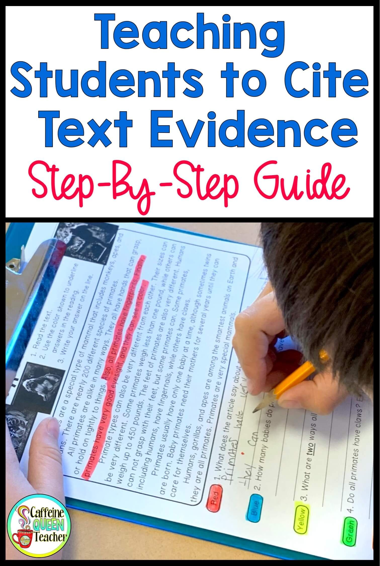 How to Teach Students to Cite Text Evidence - Caffeine Queen Teacher