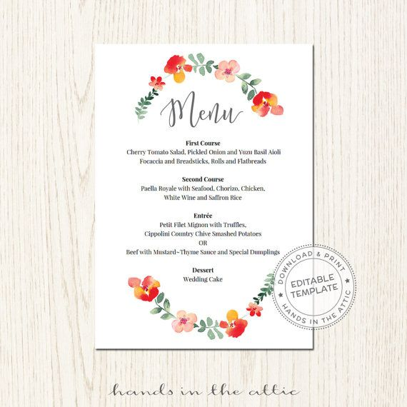 Wedding Menu Cards Template Food Reception Brunch Floral Red
