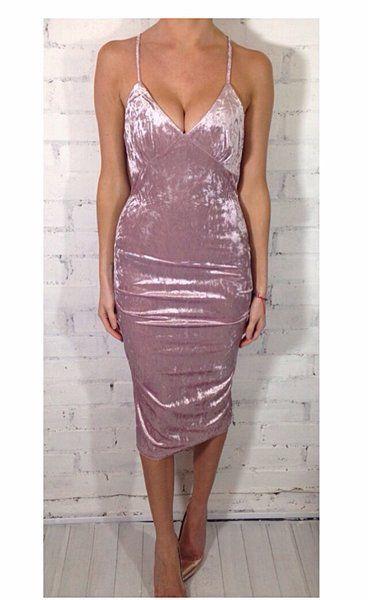 b9d71716da  FRAN  Dusky Pink Velvet Dress