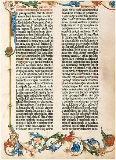 Page from Guttenberg Bible Gutenberg bible, Biblia, Bible