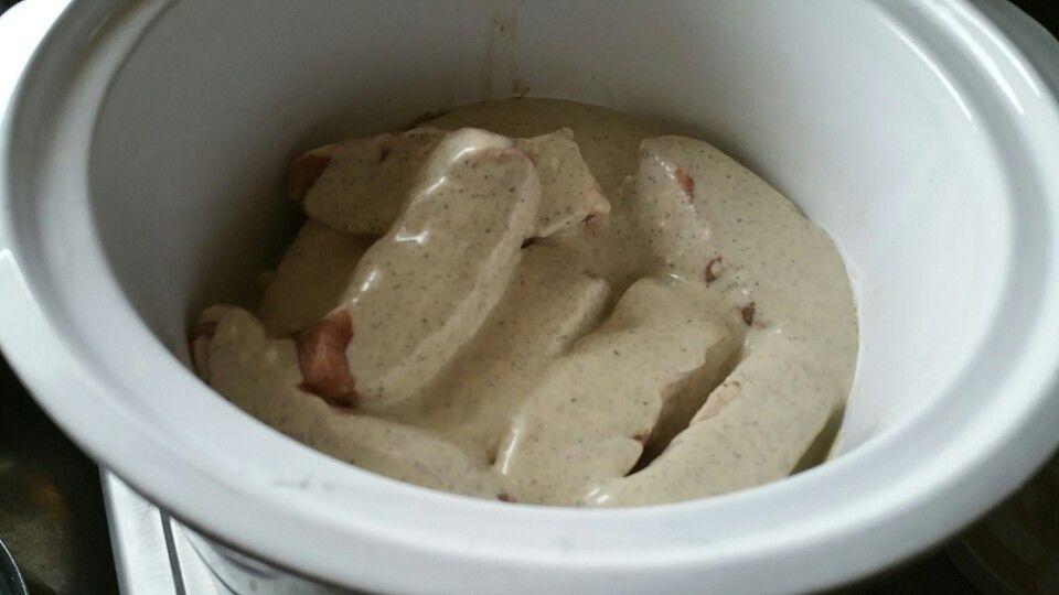 Crock Pot Country Ribs-white BBQ sauce 2 cloves elephant garlic  4 cloves garlic 8 ribs Liquid Smoke White BBQ sauce Low 6 hours