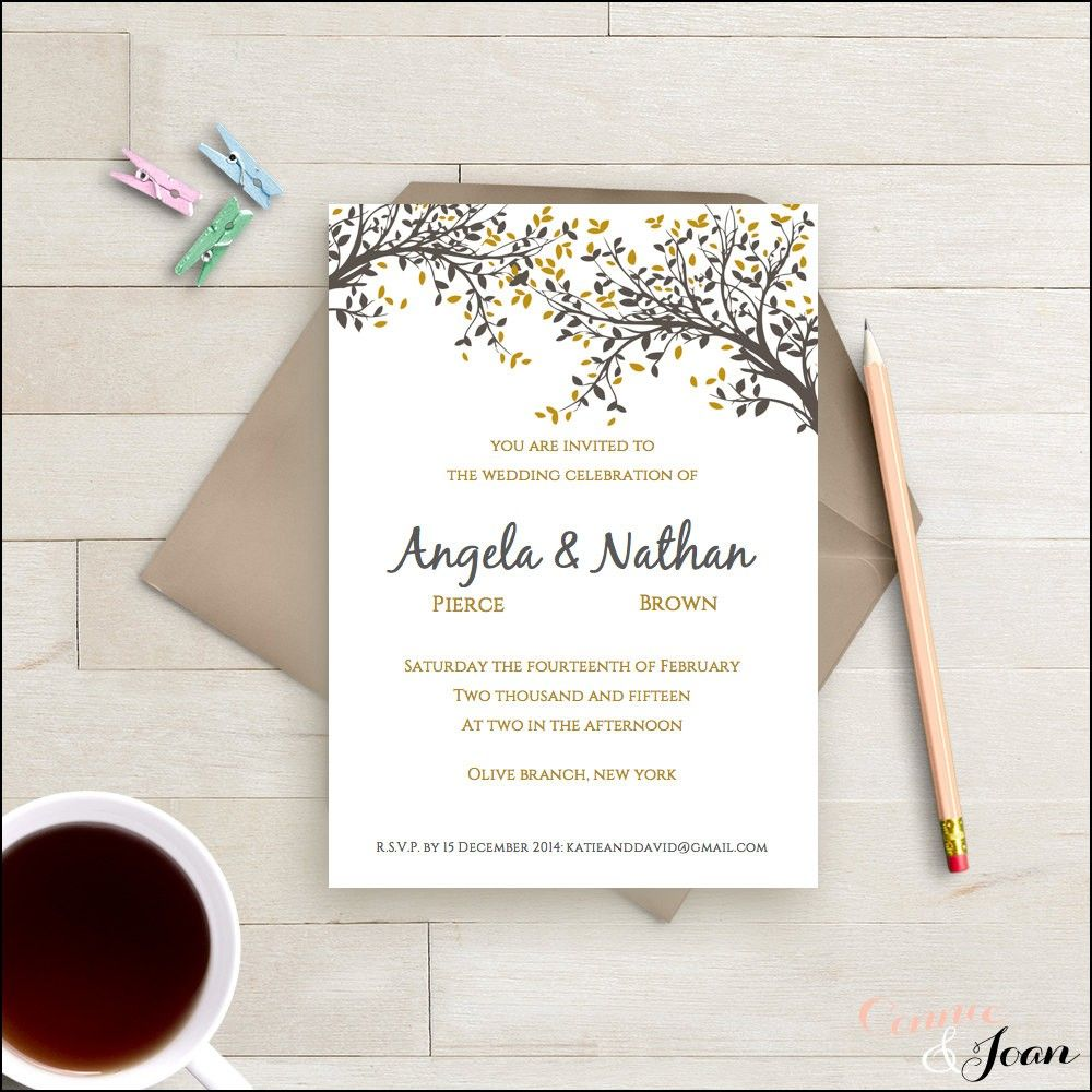One Page Wedding Invitations Templates tarj de boda Pinterest