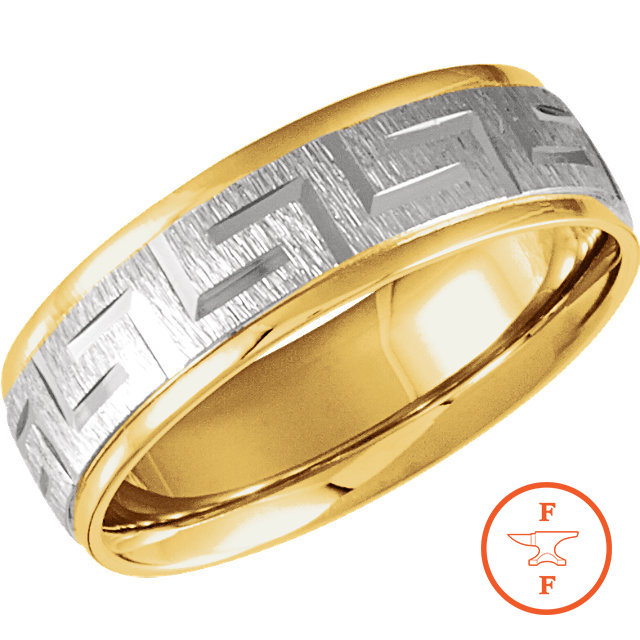 14K Tri-Color Gold Wedding Band 6mm Machine Cut Patterned Ring