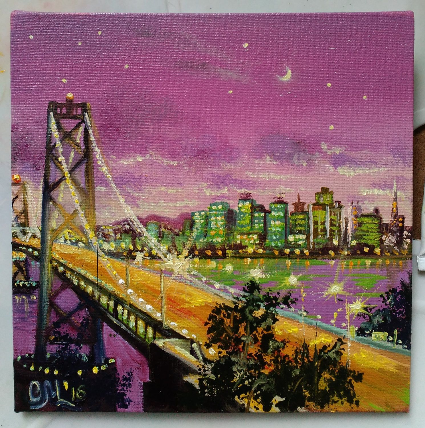 Home interiors and gifts paintings - Night New York City Painting Nyc Skyline Travel Illustration Manhattan Bridge Gift Boss Home Interior Decor