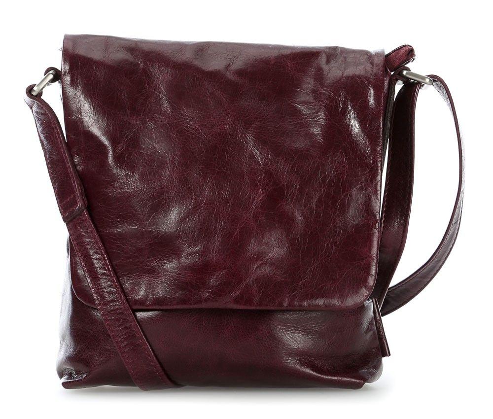Tasche in knautschigem Auberginefarbigem Leder - perfekt für den Herbst - Farbtyp