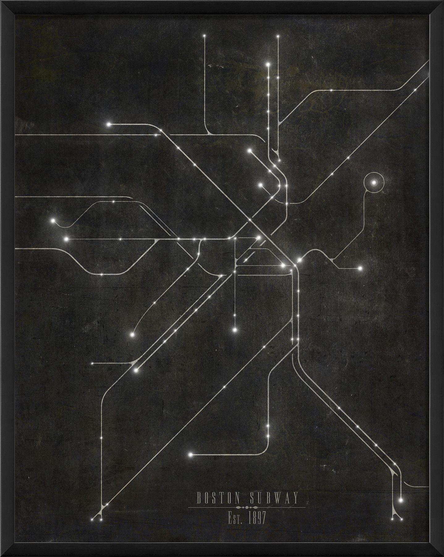 Subway Map Art Boston.Boston Subway Map Framed Graphic Art What The Hell Subway Map