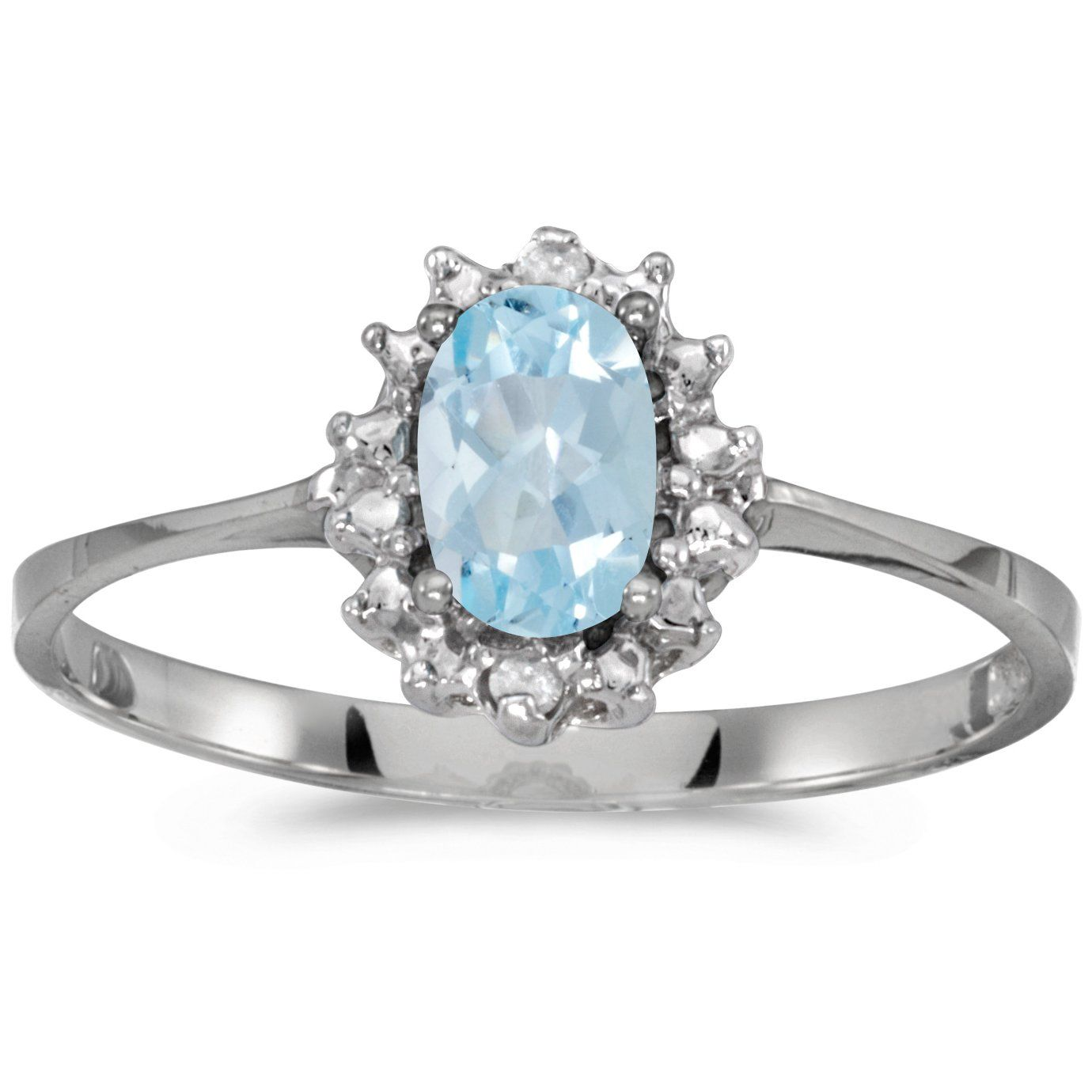 This 10k white gold oval aquamarine and diamond ring features a ...
