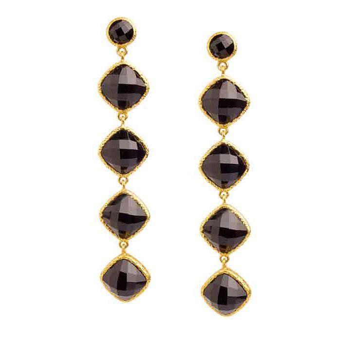 Vasant Designs Black Onyx 24k Gold Vermeil Earrings E403 Artistic