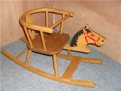 Antique Wooden Rocking Horse | ... About Vintage / Retro CHILDS WOODEN  ROCKING HORSE