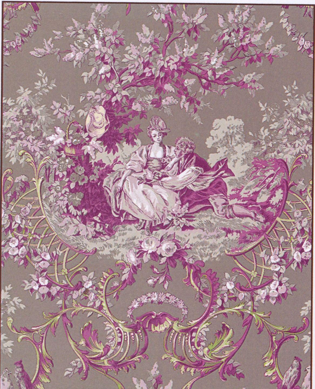 tissu amoureux motif toile de jouy en coton dans les tons rose marron coupon 50x70cm. Black Bedroom Furniture Sets. Home Design Ideas