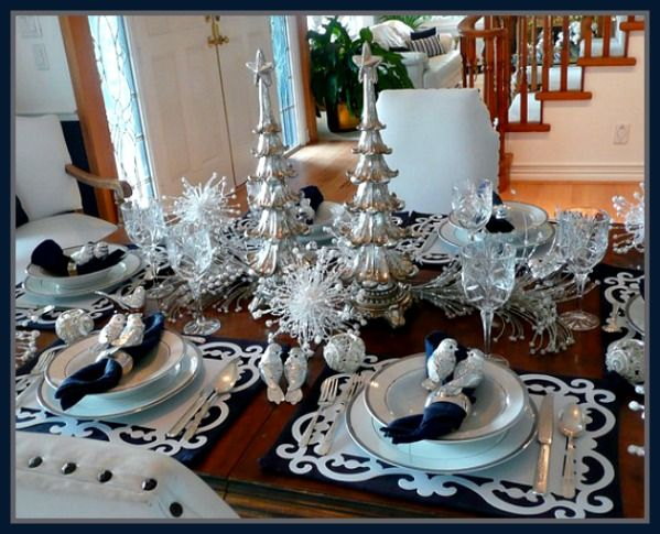 Silver Tablescape Ideas Christmas Table Settings Christmas Wedding Table Christmas Table Decorations