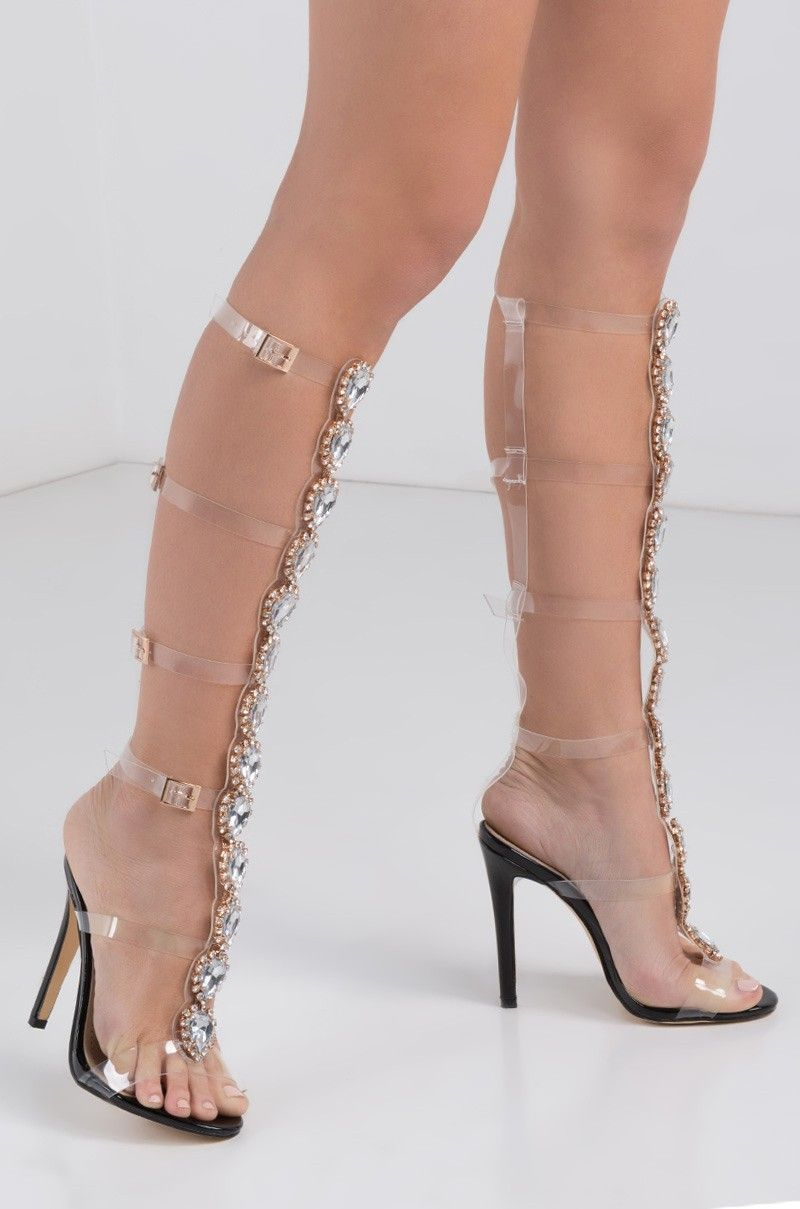 9ee220ec14ee Side View Bedazzled 6 Straps Sexy Gladiator Sandals in Black ...
