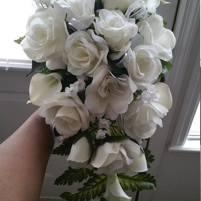 Navy Blue,Silver, White Silk Flower Package - Cascade Bridal Bouquet - Navy Blue Bouquet - Blue and Silver Bridal Bouquets 18 pieces #silkbridalbouquet