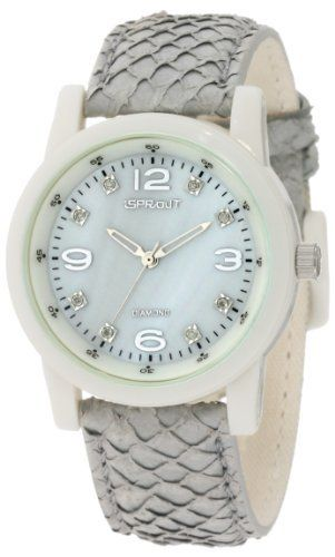 Sprout Women's ST/2700GMLG Diamond Dial Grey Salmon Fish Scale Bio-Degradable Watch Sprout. $70.00. Silver-tone, skeleton hour and minute hands with second hand sweep. Grey dyed genuine salmon fish skin strap for distinctive texture. Large off-white bio-degradable corn resin case. Grey colored mother-of-pearl dial declared through the dept. Of fish & wildlife in the u.s. To never be from forbidden or endangered species.. 8 genuine conflict free diamond markers at 1...