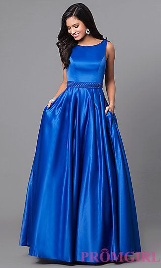 Long Sleeveless Satin Prom Dress With Pockets In 2018 Formal Wear