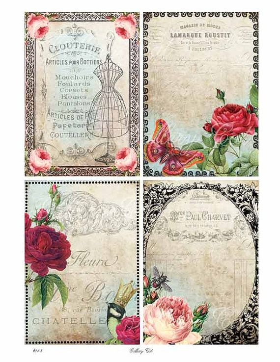 Digital Collage Sheet FRENCH BACKGROUNDS Instant by GalleryCat, $3.70