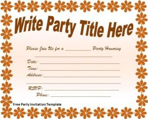 Free Editable Download In Ms Word Party Invitation Template