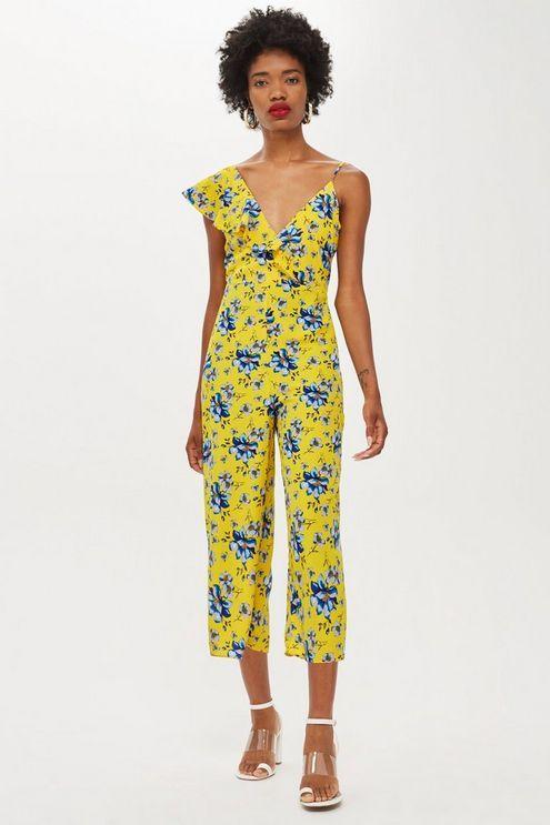 d3615e57465c Womens Ruffle Floral Print Jumpsuit - Yellow