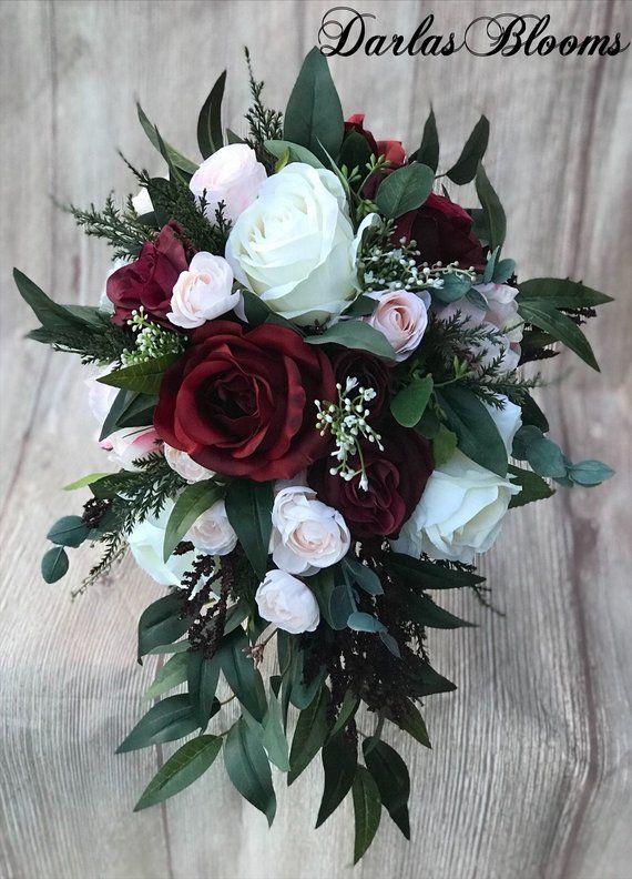 Cascade Wedding bouquet, Burgundy Bridal bouquet, Blush bouquet, Boho bouquet, Burgundy & Blush Silk Wedding Bouquet, Blush Wedding Flowers