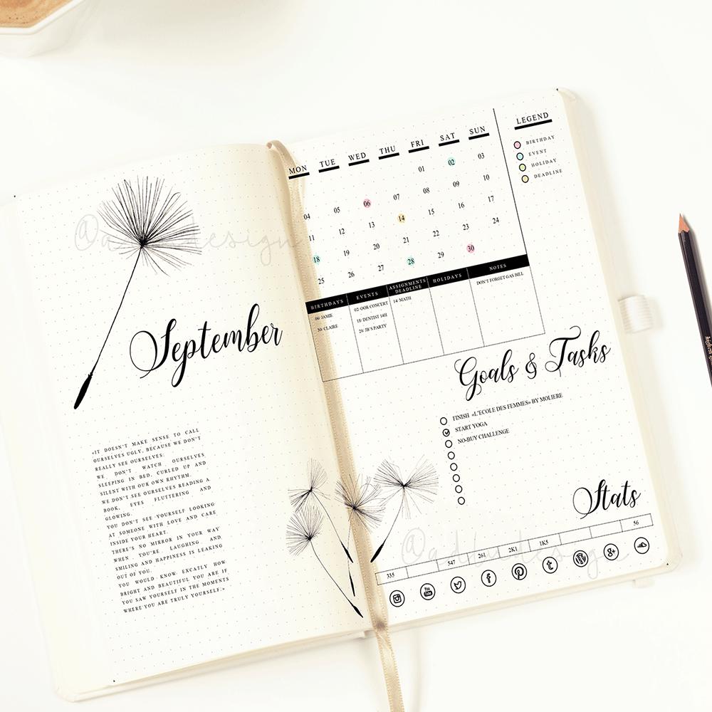 PRINTABLE Dandelion Monthly Log / Bullet Journal Insert / Goals & Task List / Social Stats / Functional Stickers