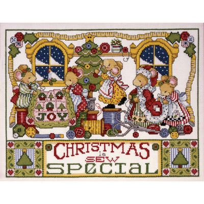 """Christmas Is Sew Special Counted Cross Stitch Kit-11""""X14"""" 14 Count"""