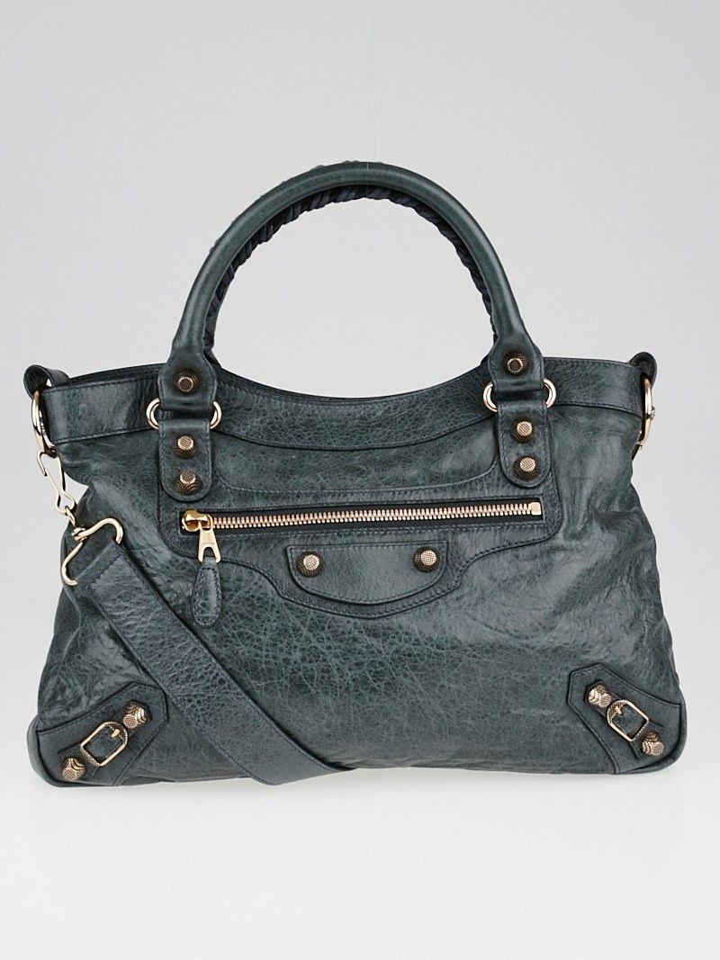 Balenciaga Gris Tarmac Lambskin Giant 12 Rose Golden City Bag